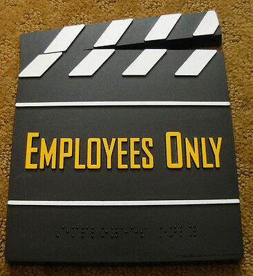 RARE Original 1998 Blockbuster Video Sign Employees Only Plastic Clapper Board