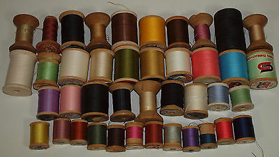 Vintage Lot B 41 WOOD THREAD SPOOLS Star Talon Coats & Clarks