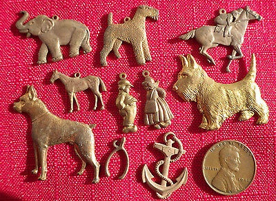 Lot of 10 VINTAGE Circa 1950s Miscelanous Charms SOLID BRASS STAMPED