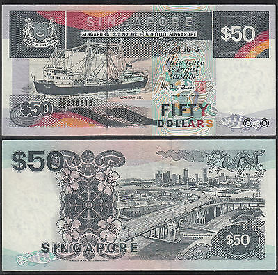 #10 1987 Singapore $50.00 Ship Series S/n: H/28 215613 Xf+/aunc Banknote