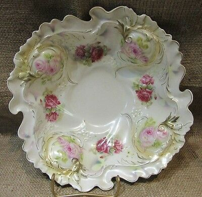 Antique Royal Bayreuth Bowl-Pink/Red Roses-Pearl Finish-Blue Mark-Beauty!