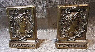 Pair of Bookends w/Grecian God (Caesar) on them-Antique Gold in Color