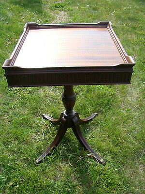 Vintage Mahogany Square Table With Brass Claw Feet 1930's