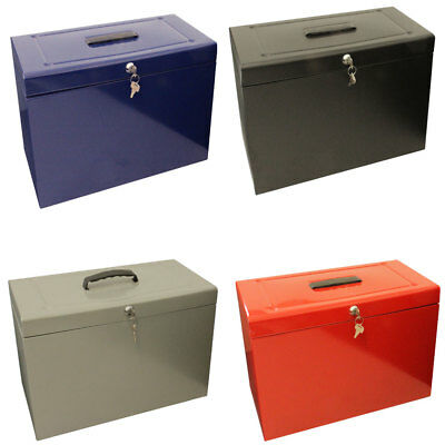 Lockable Foolscap Metal File Box Filing Storage extr/inc 5 Free Suspension Files