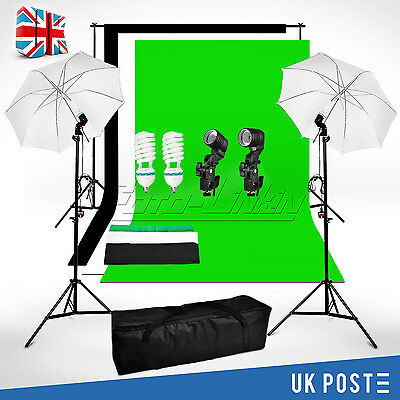 Photo Studio Lighting Kit Black White Green Chroma key Backdrop Background Stand