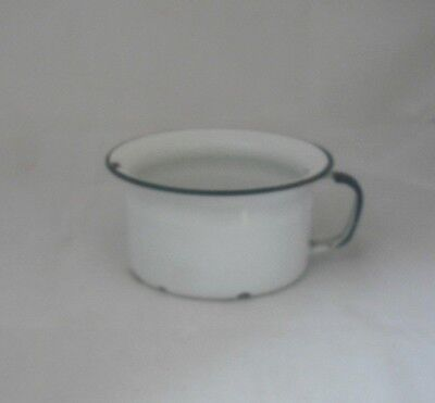 """Antique 6"""" Porcelain Chamber Pot w/Handle White and Dark Blue"""
