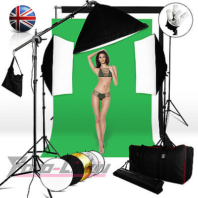 2850W Photography Softbox Studio Lighting kit arm 3 Background & Stand Reflector