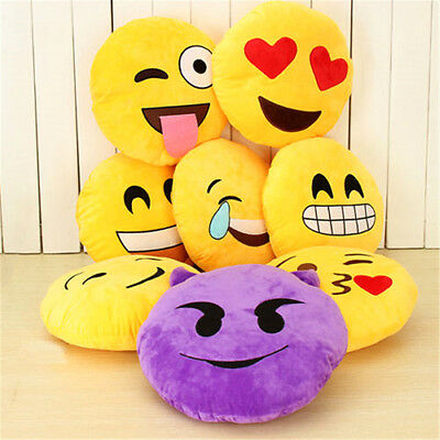 Round Cushion Soft Emoji Emotion Stuffed Plush Toy Pillow Doll Home Bed Decor