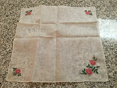 Vintage SWISS Petit Point Embroidered Pink Red Rose Rosebud Hankie Handkerchief