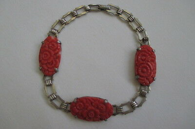 Beautiful Antique Chinese Carved Coral Flowers Signed Sterling Silver Bracelet