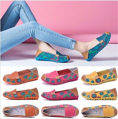 Women Floral Slip On Loafers Comfort Pumps Casual Work Flat Boat Deck Shoes