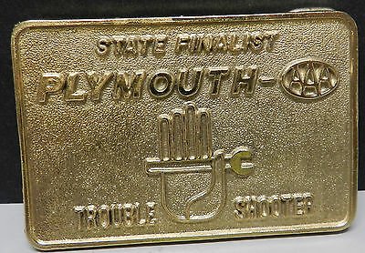 Plymouth Promo Trouble Shooting Shooter Belt Buckle Master Tech Mopar Dealer