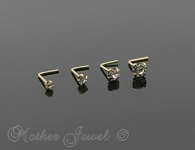 Real Genuine Solid 9K Yellow Gold Simulated Diamond L Shaped Bend Bent Nose Stud