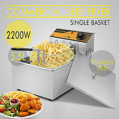 5.5L Commercial Electric Deep Fryer Frying Basket Chip Cooker Fry 2500W