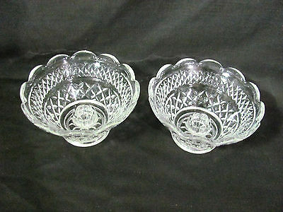 Vintage Anchor Hocking Wexford Pair of Diamond Glass Candle Bowls