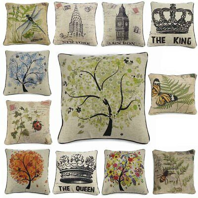 Vintage Cotton Linen Insect Pillow Case Cover Throw Cushion Weather Archit