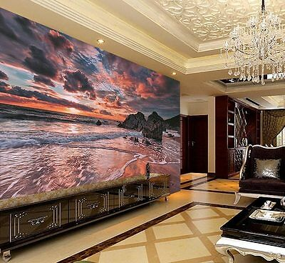 Lynton Lynmouth Rocks Dusk Full Wall Mural Photo Wallpaper Print Home 3D Decal