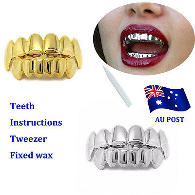 18k Gold Plated Hip Hop Teeth Caps Top & Bottom Grill Set WITH CASE BO