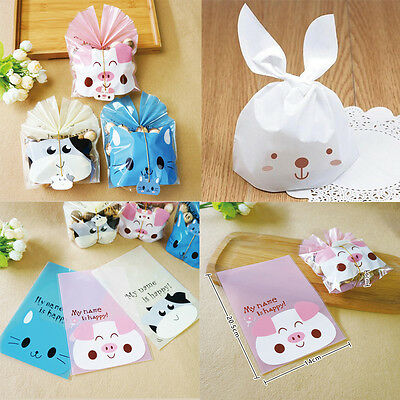 50Pcs Rabbit Cookie Plastic Candy Biscuit Packaging Bag Wedding Gift Brand New
