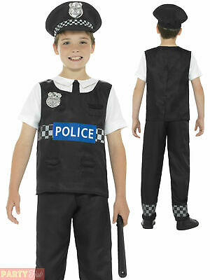 Boys Police Officer Costume Childs Cop PC Fancy Dress Book Week Uniform Outfit