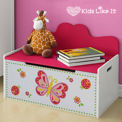NEW* Hot Pink DELUXE WOODEN KIDS BUTTERFLY TOY BOX STORAGE BLANKET CHEST
