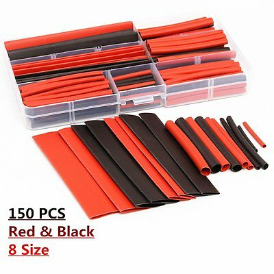 150pcs 2:1 Heat Shrink Tubo Poliolefina Cable Sleeve 8 Size 1-14mm Wire Tubing