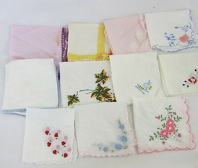 Vintage Handkerchief Lot of 11 w/ Embroidered Flowers, Crochet & Scalloped Edges