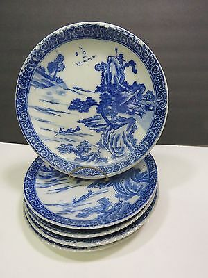 """5 Chinese Export Canton Blue White 8.5"""" Plates Heavy Signed Porcelain Willow"""