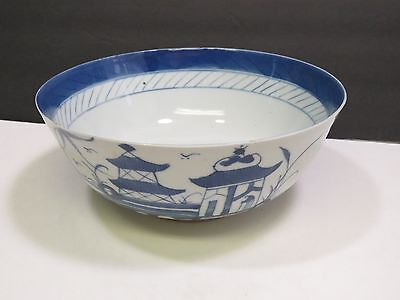 Canton Chinese Export Blue White Footed Bowl Hand Painted