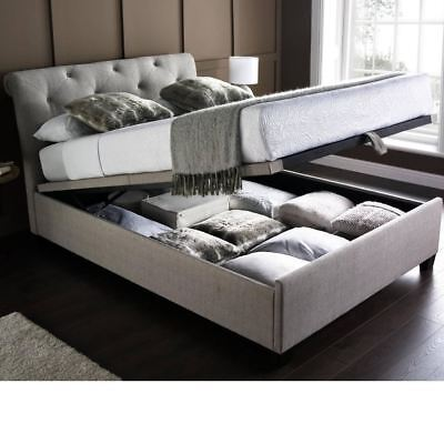Happy Beds Brunswick Linen Fabric Ottoman Bed Storage Bedroom Frame Only