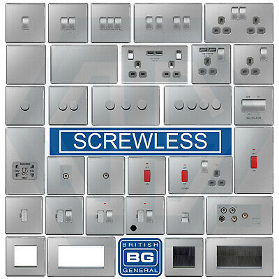 BG Nexus Brushed Steel Screwless Flatplate Switches & Sockets Satin Chrome Grey