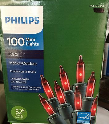 Philips 100 RED Mini String Lights Green Wire 24' Christmas Indoor/Outdoor