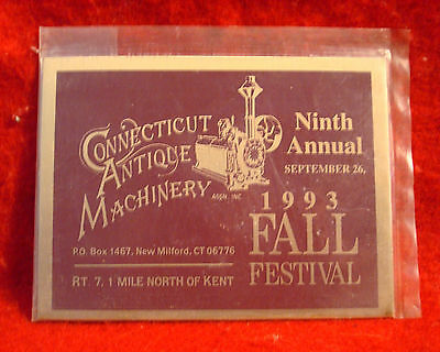 1993 Connecticut Antique Machinery 9th Annual Fall Festival Metal Show Plaque