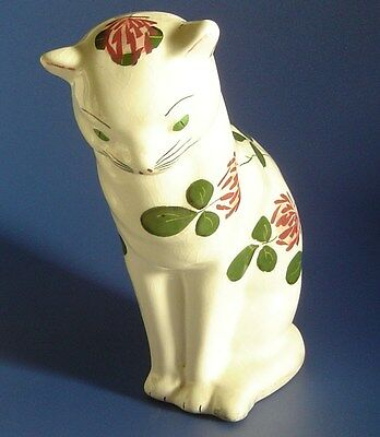 Vintage PLICHTA Wemyss Bovey Pottery Cat in Clover Pattern (5 1/2 inch tall)
