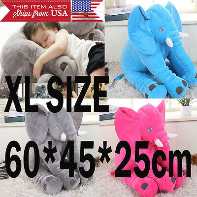 Large Elephant Pillow Soft Cushion Stuffed Baby Kids Plush Doll Toy from USA NEW