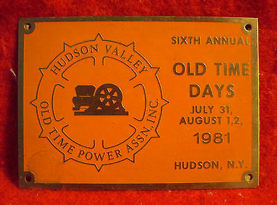 1981 Hudson Valley Old Time Power Association 6th Annual Brass Show Plaque NY