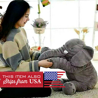 Small Elephant Pillow Cushion Stuffed Doll Toy Baby Kids Soft Plush GREY