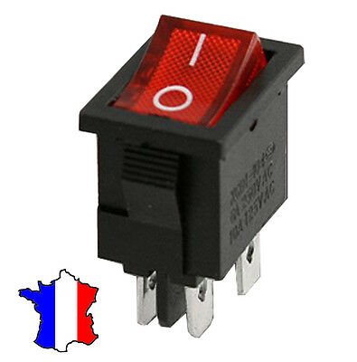Interrupteur à bascule rouge KCD1-104 4 Pins 6A 250V On/Off permanent