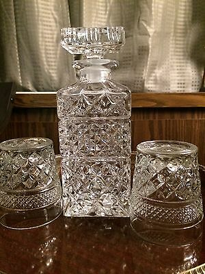 Vintage Crystal Glass Diamond Cut Decanter Bottle with Stopper Age 1980