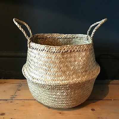 Small Natural Plain Seagrass Belly Basket Zig Zag Straw Planter Laundry Basket
