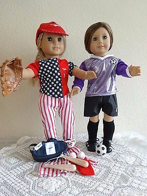 """NEW-DOLL CLOTHES: BASEBALL & SOCCER Sets fit 18"""" Doll such as AG Dolls -Lot #281"""