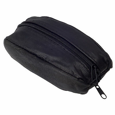 New Large Leather Key Case Holder Coin Bag Purse Pouch, Black