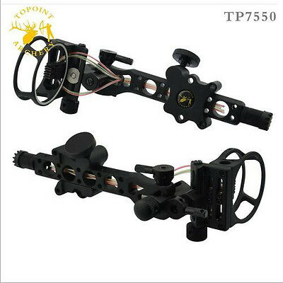 "5 pins .019"" Bow Sight with Micro Adjust Detachable Bracket, Sight Light - Black"
