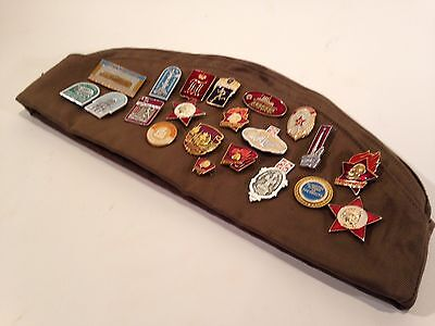Vintage Russian Military Hat W/21 Soviet Enamel Pins Army Officer Lenin Patch 58