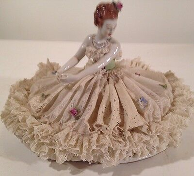 "German Dresden Lace Seated Ballerina Dancer Figurine Lady 9""x6"""