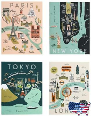 Rifle Paper Co. Asst. City Map Set, New, Free Ship