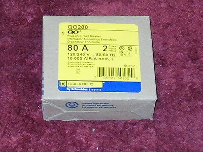 QO280 Square D Circuit Breaker 2 Pole 80 Amp 240V (New In Box)