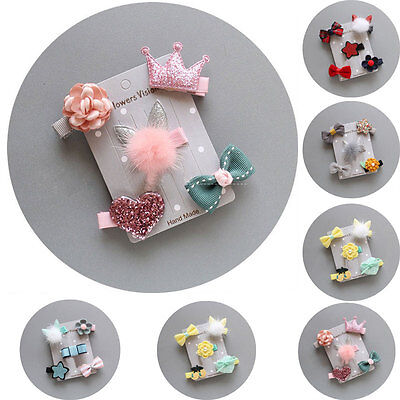5Pcs/set  Hairpin Baby Girl Hair Clip Bow Flower Mini Barrettes Star Kids Infant