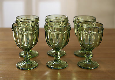 6 x Wine Glass Set Classic Green Stemware French Provincial Bee Glasses Cups