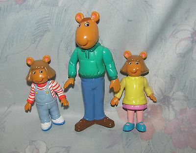 1996 Marc Brown Arthur PVC Figures - Dad, 2 Versions of D.W. - Articulated